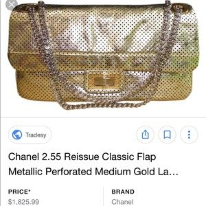 LAST DISC Chanel Gold Lambskin Flap Perforated Bag